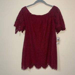 Chance or Fate Burgundy Lace Cold Shoulder Top